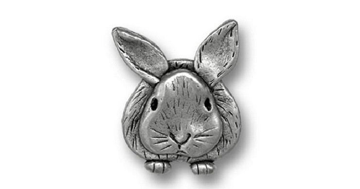 Pewter bunny lapel pin