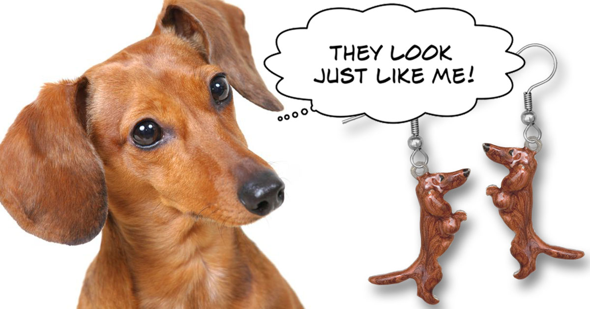 Red dachshund earrings