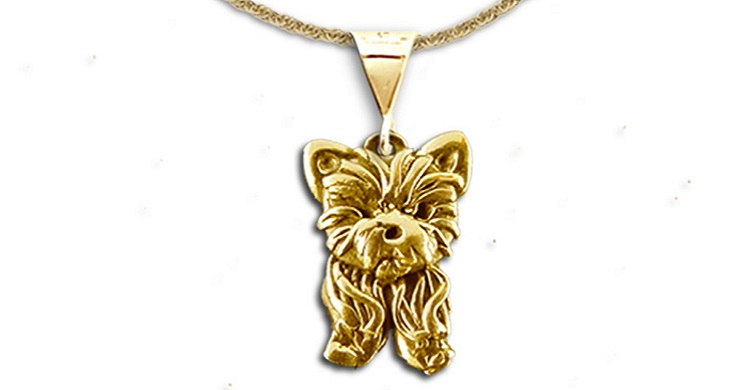 14K solid gold yorkie pendant